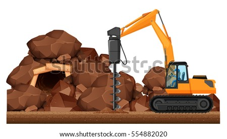 Drilling tractor working in the mine illustration