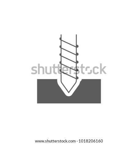 Drillingr icon. Thin line illustration. Rotating mining drill bit contour symbol. Vector isolated outline drawing on white background