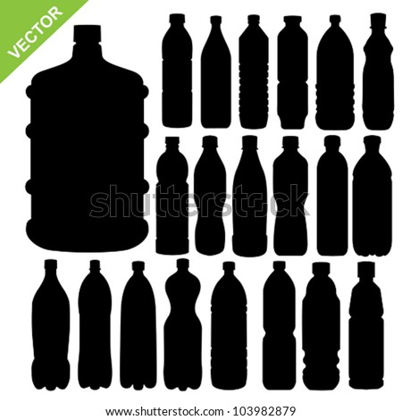 drink bottle silhouettes vector