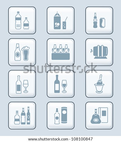 Drink bottles icons | TECH series - stock vector