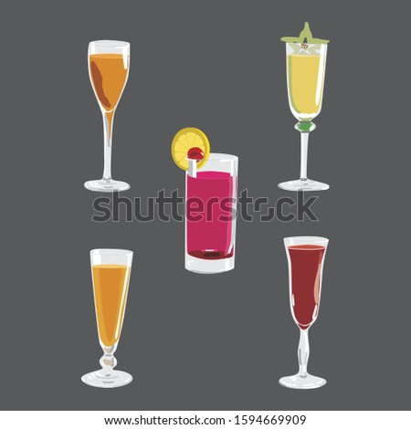 Drink glass vector. Five refreshing syrup drinks. Full color drink set.