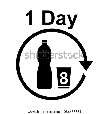 Drink 8 glasses of water a day. vector icons