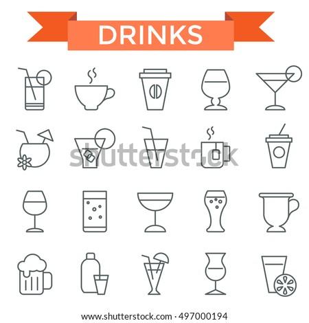 drink icon set  thin line  flat