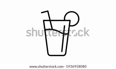 Drink Icon. Vector isolated illustration of a glass with liquid and a straw Stock photo ©