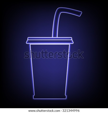 drink icon with neon effect