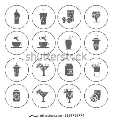 drink icons set - vector glass for beer, wine, juice and alcohol icons