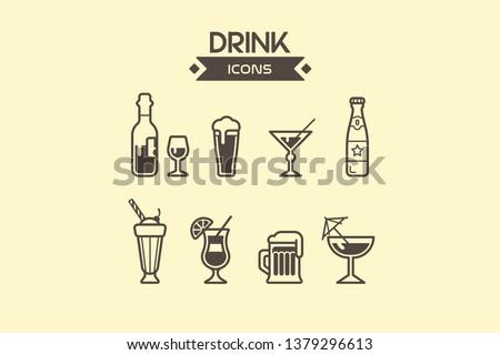Drink icons set vector illustration - wine, cocktail, martini, brandy, margarita.