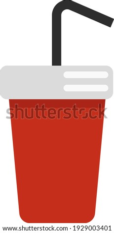 Drink in a red cup, illustration, vector on white background.