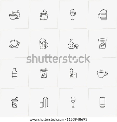 Drink line icon set with juice bottle with glass, coffee cup  and cup of coffee