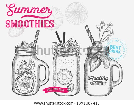 Drink menu smoothie illustration for juice restaurant on vintage background. Vector hand drawn poster for cafe. Design with lettering and ingredients strawberry, carrot, apple, pineapple.