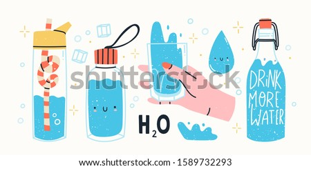 Drink more water. Glass only. Plastic free, zero waste concept. Various bottles, glass, flask. Hand drawn cute trendy vector illustartion. All elements are isolated