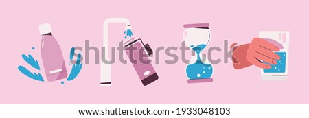 Drink more water symbols set. Collection of drinking signs - bottle, draw water from tap to bottle, aqua hourglass, hand holds glass, blue drops. Hydrate balanced, good habits. Vector illustration