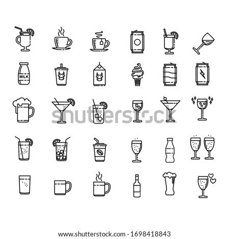 Drink Set Icon Design Vector. Pixel Perfect