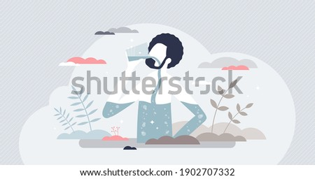 Drink water for health and balance thirst to keep body hydrated tiny person concept. Mineral refreshment from x-ray view as liquid pouring in human digestive system vector illustration. Pure beverage.