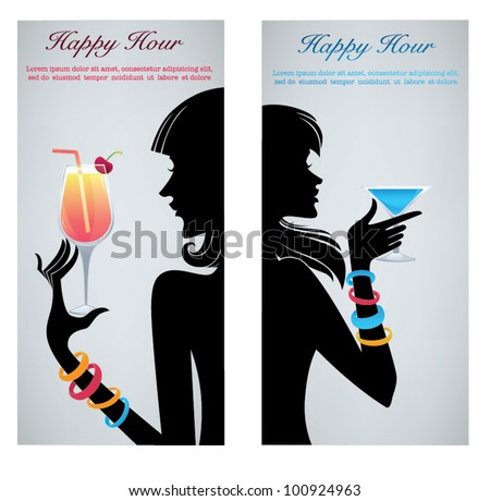 drink with me,vector commercial background with images of drinks and girls silhouettes