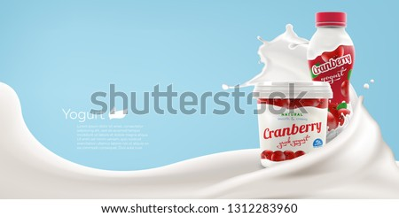 Drinking and greek yogurt with natural cranberry taste and flavor with splashing milk swirl commercial realistic branding ready vector mock-up illustration for ads and product design