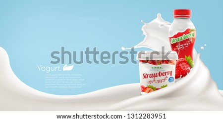 Drinking and greek yogurt with natural strawberry taste and flavor with splashing milk swirl commercial realistic branding ready vector mock-up illustration for ads and product design