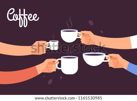 Stock Photo Drinking coffee concept. Friends drink coffee for breakfast. Break in office with espresso vector concept. Illustration of coffee drink, cafe breakfast morning with hot espresso