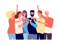 Drinking friends. Group of funny guys clink glasses with alcohol drinks and make toast. Christmas celebration vector flat concept