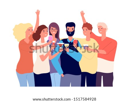 Drinking friends. Group of funny guys clink glasses with alcohol drinks and make toast. Christmas celebration vector flat concept Foto stock ©