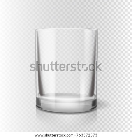 Drinking glass for pub. Transparent realistic vector