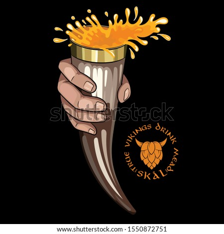 Drinking Viking Horn. Scandinavian drinking Viking horn with beer and Scandinavian phrase used as a toast - Skal, isolated on black, vector illustration