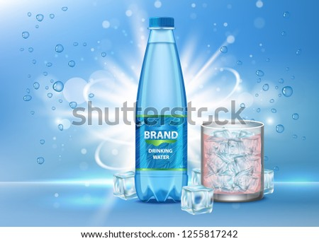 Drinking water ad vector realistic illustration. Glass of clean pure sparkling drink water and plastic bottle with label on blue background with bubbles, ice cubes. Brand advertising poster template.