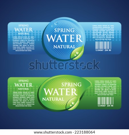 Drinking Water Label in Blue and green
