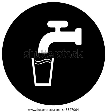 Drinking Water Sign Black. Vector.