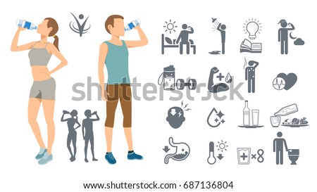 Drinking water to keep the body healthy. Simple self-awareness. Best drink of physical fitness.