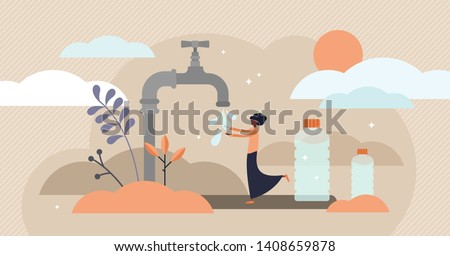 Drinking water vector illustration. Flat tiny Africa potable problem person concept. Lack of running safe and healthy mineral liquid in hot dry dessert. Essential need for fresh, clean and clear H2O.