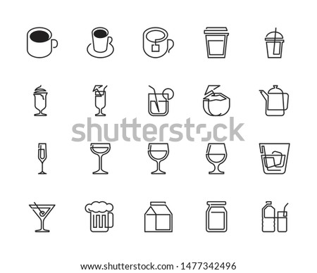 Drinks and Beverages Continuous line icons.