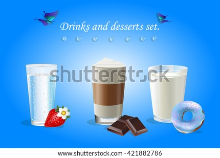 drinks and desserts set vector