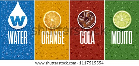 Drinks and juice background with drops and orange and lime slice