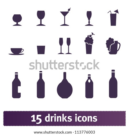Drinks, bottle, party: bar vector icons set