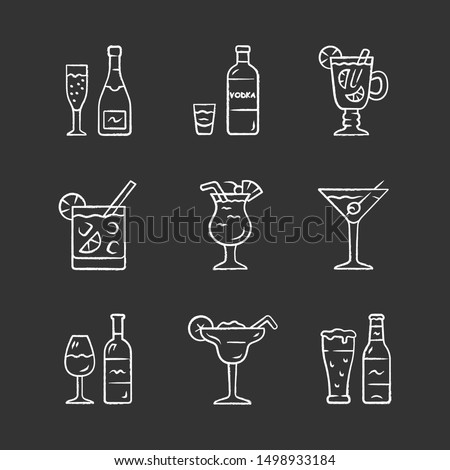 drinks chalk icons set alcohol