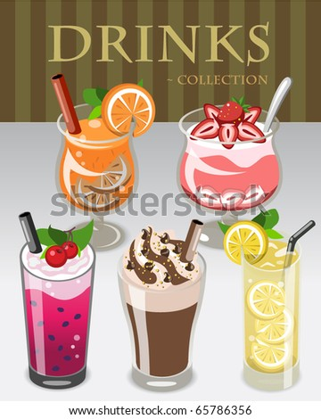 Drinks Collection Vector Illustration - stock vector