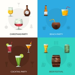 Drinks design concept set with christmas cocktail party beer festival polygonal icons isolated vector illustration