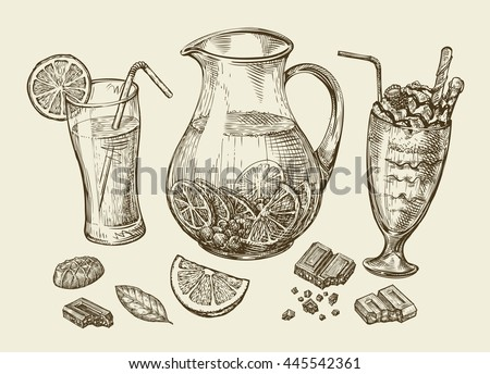 Drinks. Hand drawn cocktail, smoothie, pitcher of lemonade, milkshakes, fruit juice, chocolate, dessert, beverage. Sketch vector illustration