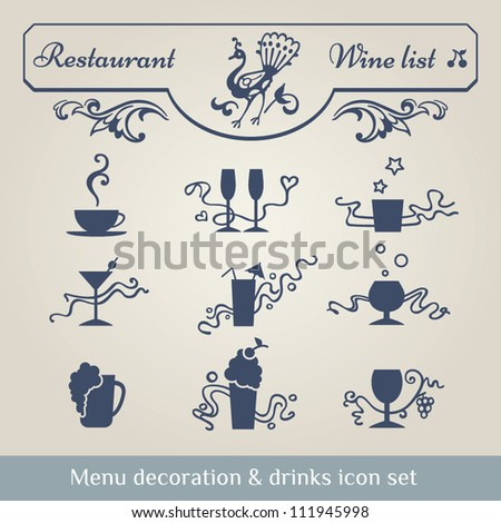Drinks icon, calligraphic flourish ornamental decor, frame, border and curls. Vector set of useful design elements. Embellish your page, menu, wine list, certificate or invitation. Easy to edit.
