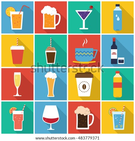 Drinks icon set in flat style with long shadow, isolated vector illustration on colors transparent background