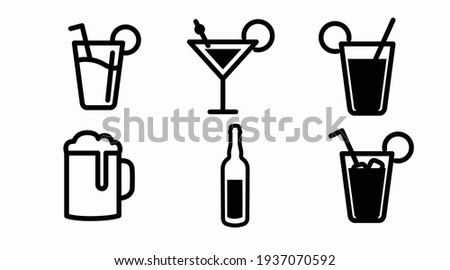 Drinks Icon Set. Vector isolated back and white set of different drinks