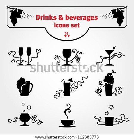 Drinks icon vector set. Black drink icons with calligraphic floral decoration. Illustration for website, cafe, bar, restaurant menu, wine list, certificate, invitation or postcard. Easy to edit.