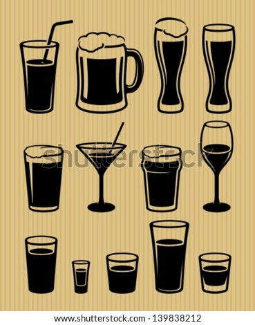 Drinks icons set Stock photo ©