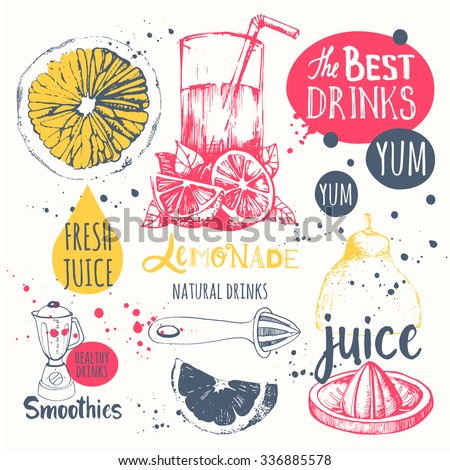 Drinks in sketch style. Useful natural juices and smoothies. Vector funny illustration with lemonade, drinks and kitchen equipment. Detox. Healthy lifestyle.