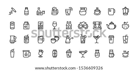 Drinks line icons. Coffee tea and alcoholic beverages, beer champagne cocktails, water in bottle and glass, milk. Vector set outlines drinking food beverage for party