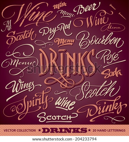 DRINKS menu headlines set of 20 hand letterings -- custom handmade calligraphy, vector (eps8)