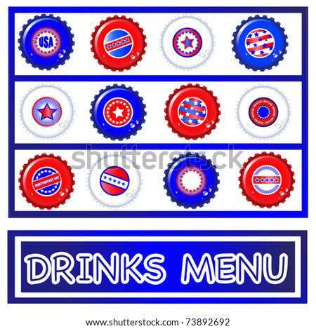 4th of july menu template - drinks menu template of stars stripes bottle caps usa