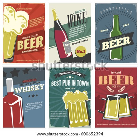 Drinks Posters set in retro style. Vintage labels collection for bar, pub, cafe and more.  With beer, whiskey, wine.  Vector illustration. Isolated.