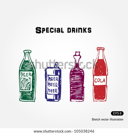 Drinks set. Hand drawn sketch illustration isolated on white background